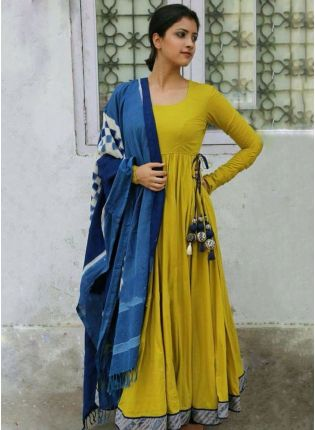 Shop Remarkable Lime Green Rayon Base Anarkali Style Gown
