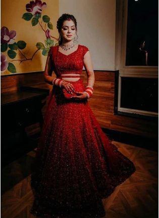 bride in Red Sequins Zari Lehenga Choli