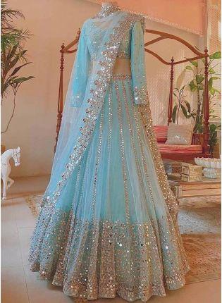 Exquisite Sky Blue Color Soft Net Base Flared Lehenga Choli