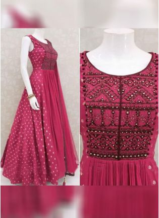 Pink Color Italian Silk Base Decent Gown