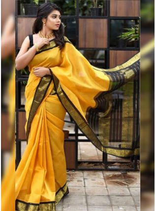 girl in Bright Yellow Bollywood Saree