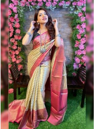girl in Neutral Beige Bollywood Saree