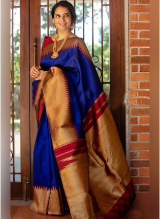Dazzling Navy Blue Color Soft Silk Base Ceremonial Wear Saree With Contrast Color Blouse