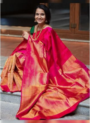 Pink Color Silk Base Bollywood Saree
