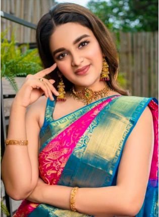 Elegant Pink Color Silk Base Saree With Contrast Blouse