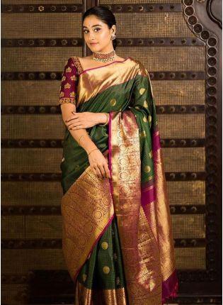 Dazzling Green Color Kanjiwaram Silk Weaving Saree With Contrast Blouse