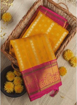 Beautiful Look Yellowish Orange Color Jacquard Silk Base Saree With Pink Blouse