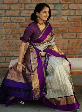 Exquisite Beige And Purple Color Silk Base Saree
