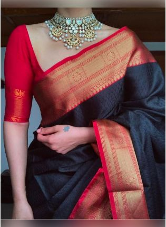 Glamorous Black Color Silk Base Saree