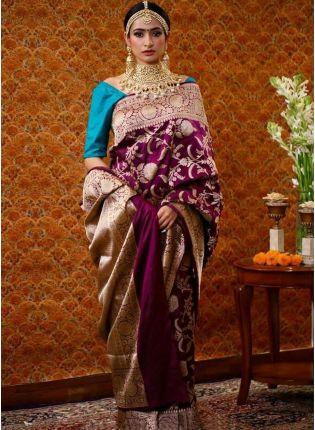 girl in Magenta Purple Silk Waving Silk Festive Saree
