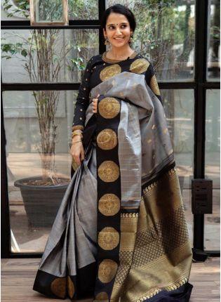 girl in Grey Silk With Silk Weaving Festive Saree