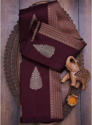 Deep Wine SIlk Waving Silk Festal Saree