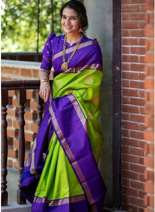 girl in Green Saree With Silk Weave Details