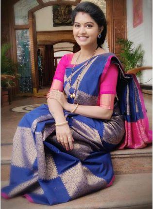 girl in Royal Blue Silk Saree