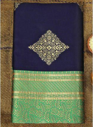 display of navy Blue Festive Silk Saree with Silk Waving