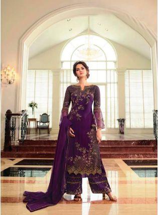Trendy Mauve Purple Color Georgette Base Palazzo Suit