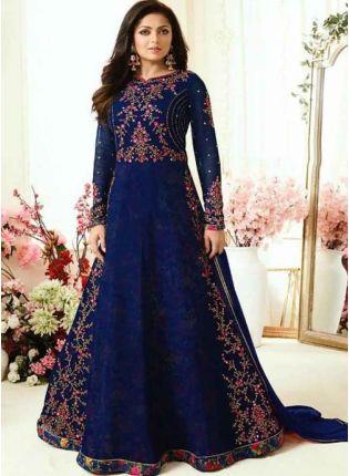 Decent Navy Blue Heavy Embroidered Designer Salwar Kameez Suit