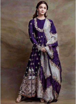 Dazzling Indigo Blue Color Georgette Base Anarkali Suit