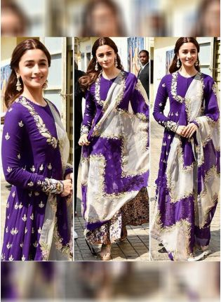 Purple Color Designer Georgette Base Heavy Embroidery Work Anarkali Suit