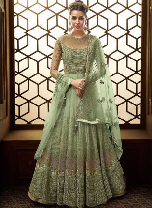 Top Pista Green Zari Stone Soft Net Bridal Pakistani Anarkali Suit