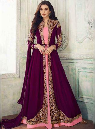 Affordable Purple Dori Georgette and Satin Jacket Style Salwar Suit