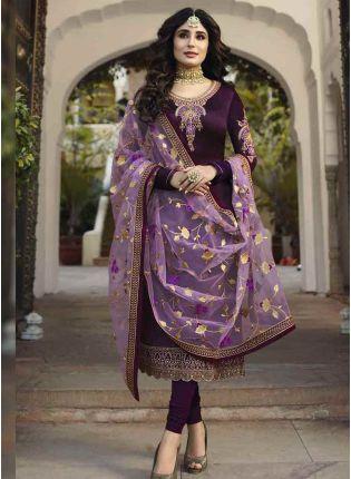 Iconic Purple Color Georgette Base Embroidered Salwar Kameez Suit