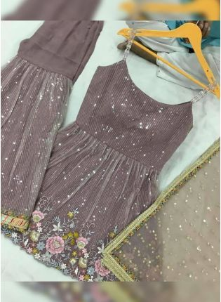 Beautiful Dusty Chocolate Color Georgette Base Sharara Suit