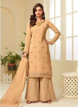 Cool Cream Color With Embroidered Palazzo Suit