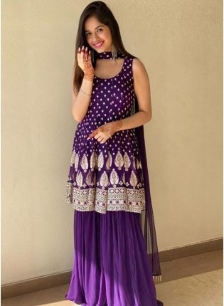 Bollywood Style Lilac Purple Color Georgette Base Sharara Suit With Dupatta Set