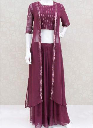 Wine Color Jacket Style Foil Mirror Bollywood Lehenga Choli