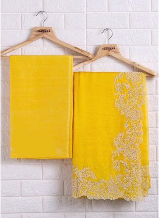 Eye-Catching Yellow Color Organza Base Saree