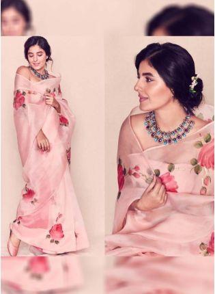 Trendy Supple Petal Yards Digital Print Elegant Peach Saree