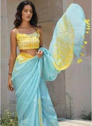 Affordable Mind-Blowing Sky Blue Cotton Silk Base Designer Saree With Tassels