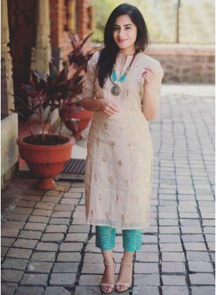 Top Cream Color Chanderi Silk Base Party Wear Designer Salwar Kameez Suit