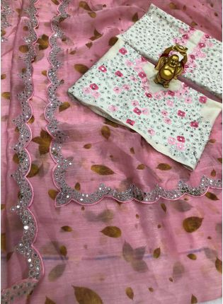 Elegant Pink Color Organza Base Saree With Embroidery Work With Contrast Blouse