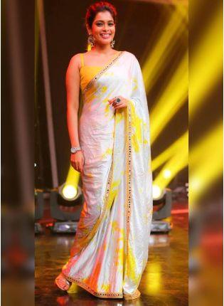 Amber Silk Mirror Work Silk Saree