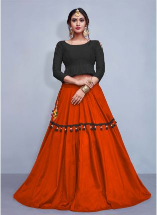 Stylish Elegance Black Crop Top With Tassels Decorated Orange Skirt
