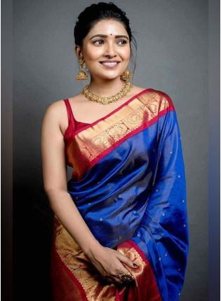 Traditional Look Blue Color Art Silk Base Wedding Wear Saree With Contrast Blouse