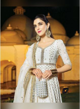 Beautiful Off-White Color Heavy Georgette Base Party Wear Gown