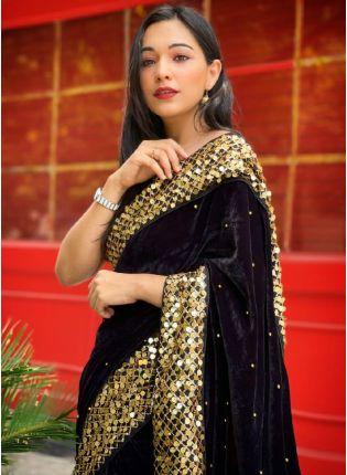 Fabulous Black Color Velvet Base With Heavy Sequins Work Border Wedding Wear Saree