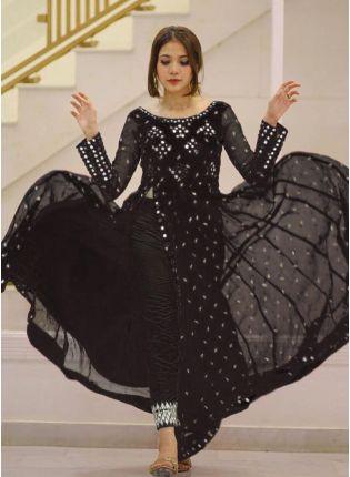 Black Foil Mirrorwork Zari Georgette Pant Style Salwar Suit