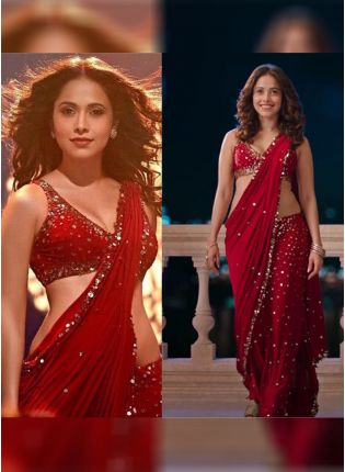 Iconic Red Color Georgette Base Heavy Sequins Work Party Wear Saree