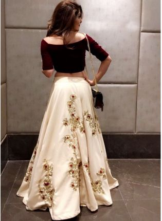Purchase Trendy Off White And Maroon Color Party Wear Crop Top