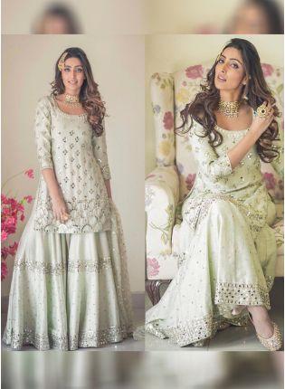 Purchase Light Pista Green Color Designer Wedding Wear Silk Base Sharara Suit