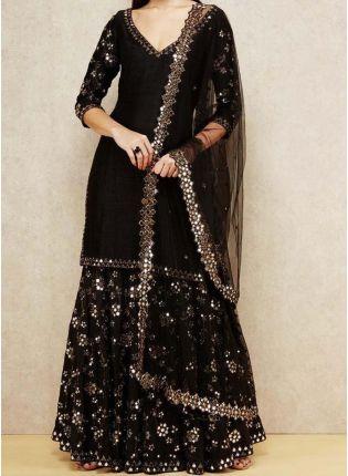 Trendy Elegant Party wear Black Georgette base designer sharara suit