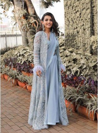 Stylish Sky blue color jacket style georgette base party wear Saree