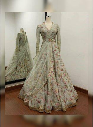 display of Grey Floral Full-Sleeve Silk Wedding Lehenga Choli