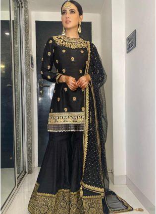 girl in Black Colour Silk Sharara Suit