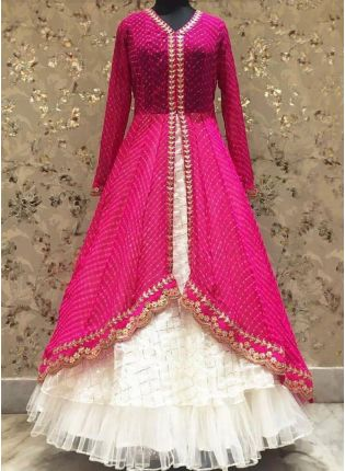 Decent Look Pink Color Georgette Base Long Choli With Ruffle Lehenga