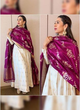 Buy Charming White Banglori Satin Base Gown With Digital Print Dupatta